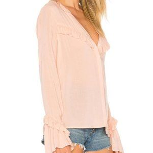 PAIGE Montel Misty Rose Ruffle Button Up Blouse